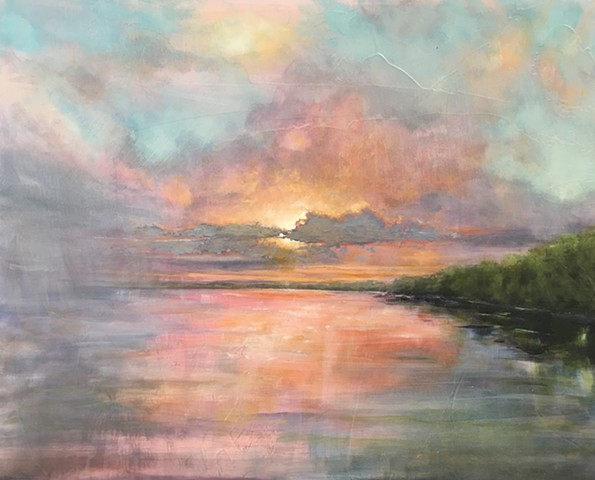 Oil paint on board depicting serene sunset or sunrise