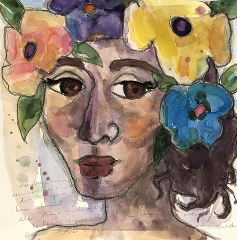 Abstract girl and flowers by Marabeth Quin
