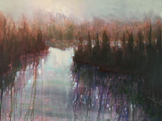 a river scene where waters and reflections converge by nashville artist marabeth quin