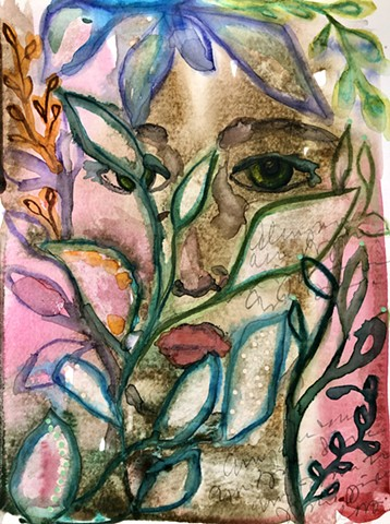 abstract girls face with plants by artist marabeth quin