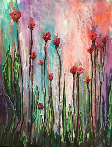 Colorful Botanical using acrylic paint and pastel on paper by Nashville artist Marabeth Quin