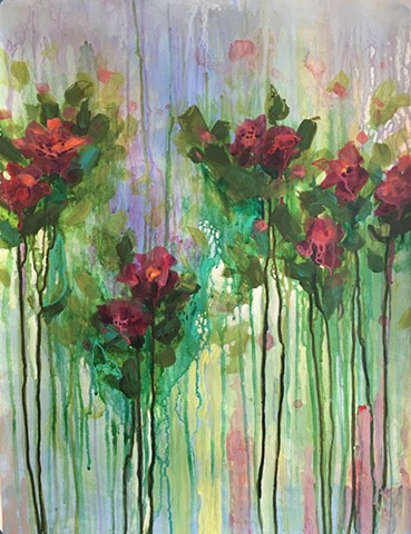 colorful botanical abstract by nashville artist marabeth quin