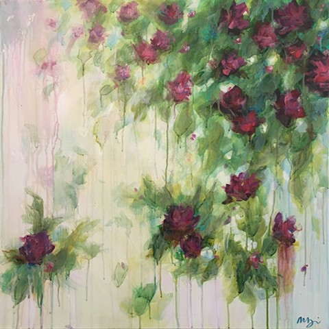 Rosa is a botanical painting by artist Marabeth Quin featuring colorful and soft roses