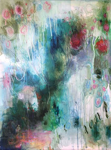 mixed media on paper botanical abstract by marabeth quin