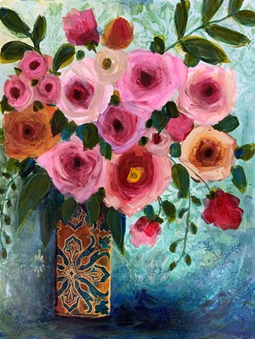 abstract floral in vase by marabeth quin