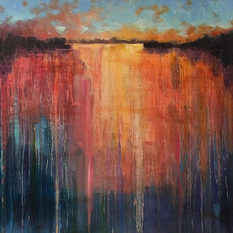 Oil painting on canvas of sunset or sunrise reflected on water by nashville artist Marabeth Quin