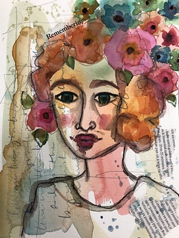 Abstract girl and flowers by artist Marabeth quin