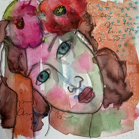 Abstract girls face with flowers by artist Marabeth Quin