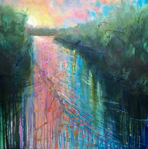 colorful sunset or sunrise reflecting on river water by nashville artist marabeth quin