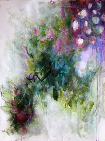 abstract floral mixed media by nashville artist Marabeth Quin