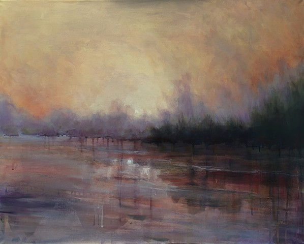 the glow of sunrise or sunset reflected in a river by nashville artist marabeth quin