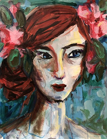 colorful abstract portrait by artist marabeth quin