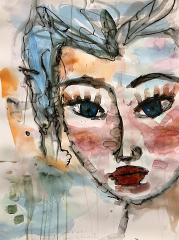 abstract messy girl face by artist Marabeth Quin