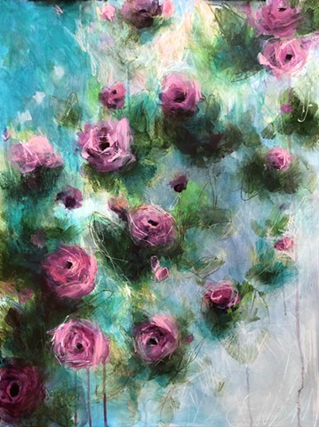 Mixed media on paper of colorful Rose botanical by nashville artist marabeth quin