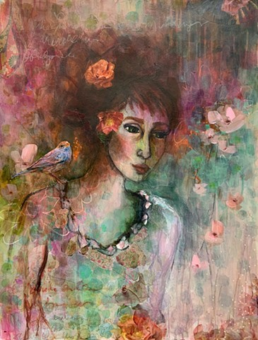 Abstract girl flowers and bird by Marabeth Quin