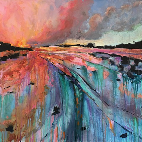 colorful depiction of sunset or sunrise at the ocean by nashville artist marabeth quin