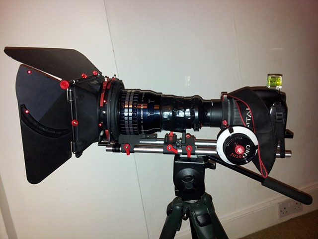 Canon 550D camera with anamorphic lens