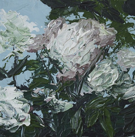 English roses painting with palette knife