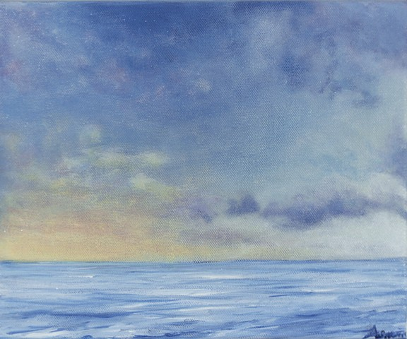Sea sunrise painting, impressionist seascape