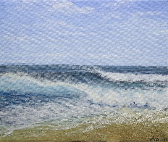 Sea painting, beach painting, impressionist sea waves painting