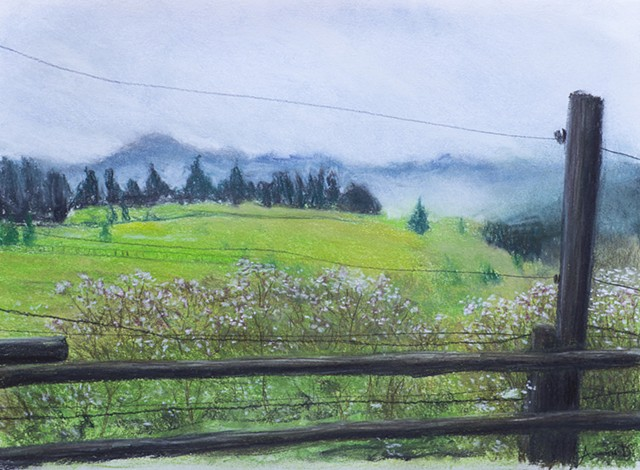 Mountain scenery pastels painting