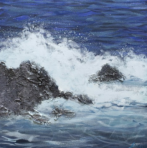 Impressionist ocean waves painting