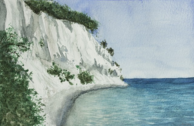 Møns Klint watercolor Landscape painting