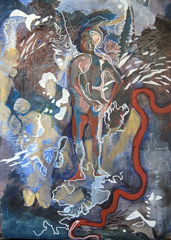 abstract painting of man in map-based landscape with river