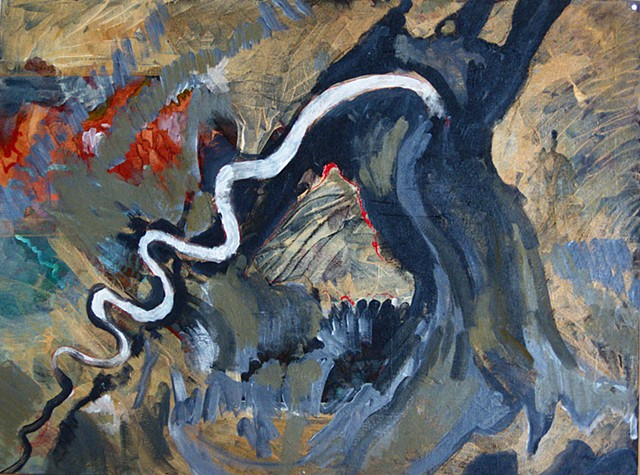 painting based on satellite image of a reverse estuary