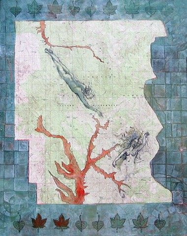 drawing of human figures on topo map with watersheds emphasized