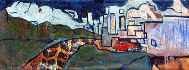 painting of abstract landscape with VW Beetle, tire marks, clouds, and rain