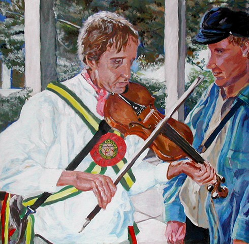 painting of a man in costume playing fiddle with another man watching