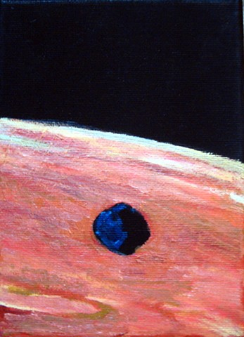 painting of Phobos over landscape of Mars