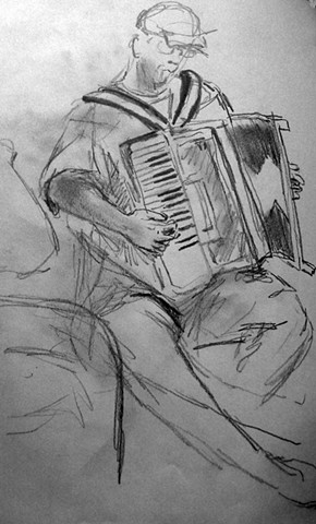 drawing of an accordion player