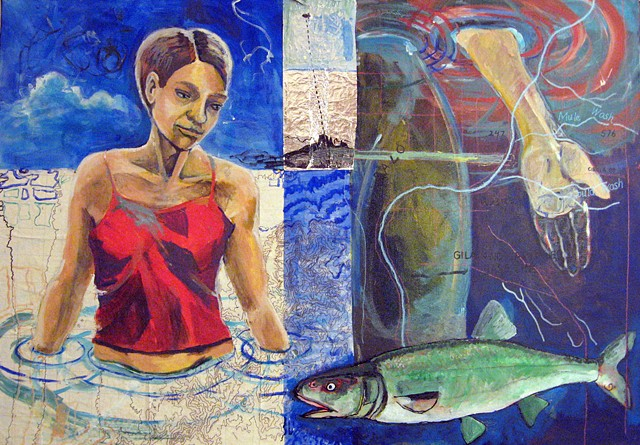 painting with human figure standing in Colorado River, fish, and aerostat blimp in background