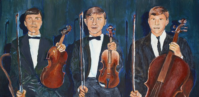 painting of three boys holding a violin, viola, and cello