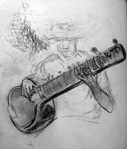 drawing of a sitar player