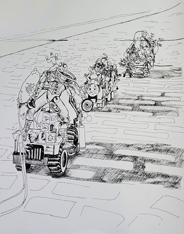 Parade Floats on Route Drawing