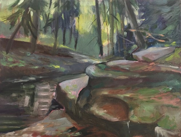 Oil painting of creek in Catskills by Bob Axelrod