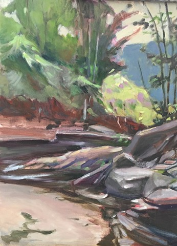 Oil painting of stream in Catskills by Bob Axelrod