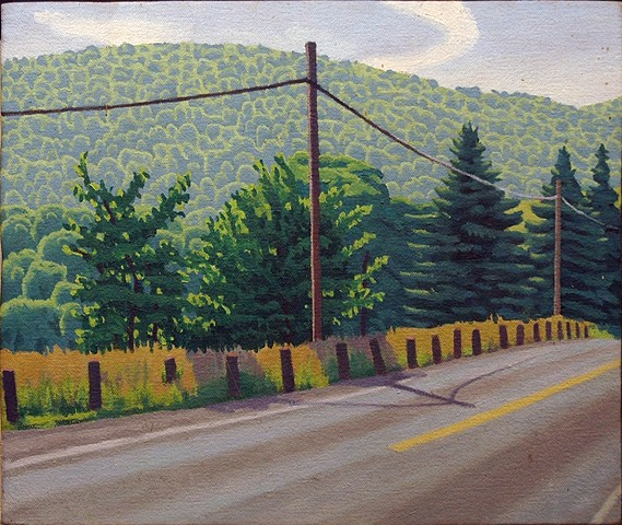 Oil painting of classic country roadside by Wayne Morris