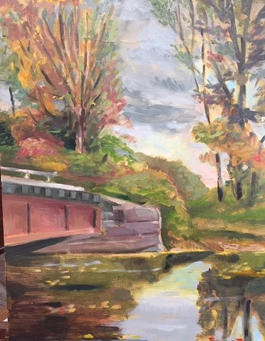 oil painting of railroad bridge in Halcottsville, NY by Bob Axelrod