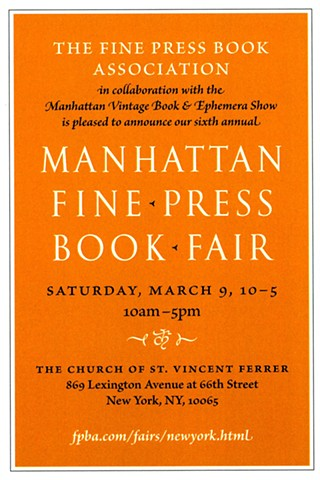 Manhattan Fine Press Book Fair - March 9, 2019