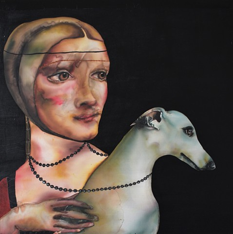 """Lady with Whippet"" after Leonardo da Vinci"