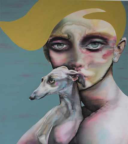 Portrait with Italian Greyhound