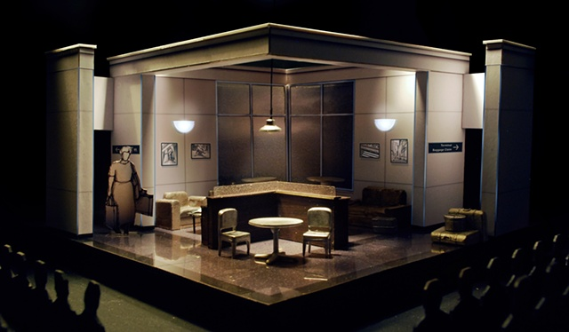 set design model by Sean Fanning for Walter Cronkite is Dead at the San Diego Repertory Theatre, directed by Shana Wride.  Set Design by Sean Fanning