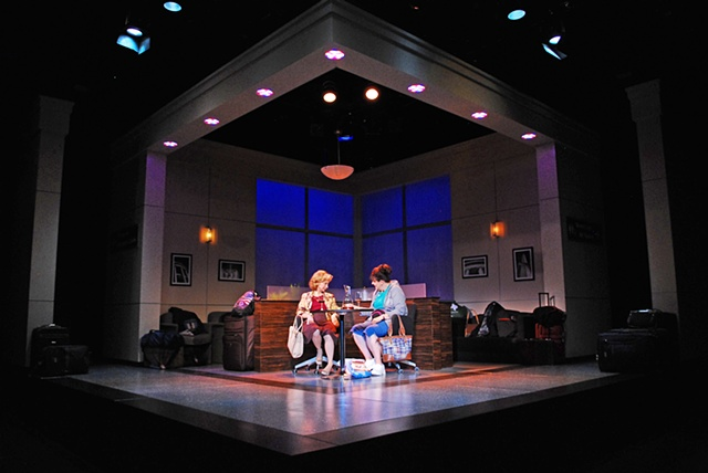 Melinda Gilb and Ellen Crawford in Walter Cronkite is Dead at the San Diego Repertory Theatre, directed by Shana Wride.  Set Design by Sean Fanning