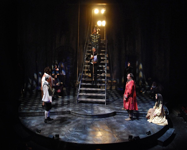 San Diego Cygnet Theatre's production of Man of La Mancha, directed by Sean Murray, set design by Sean Fanning, Sean Fanning scenic design, David Kirk Grant, Sean Murray, Jason Maddy