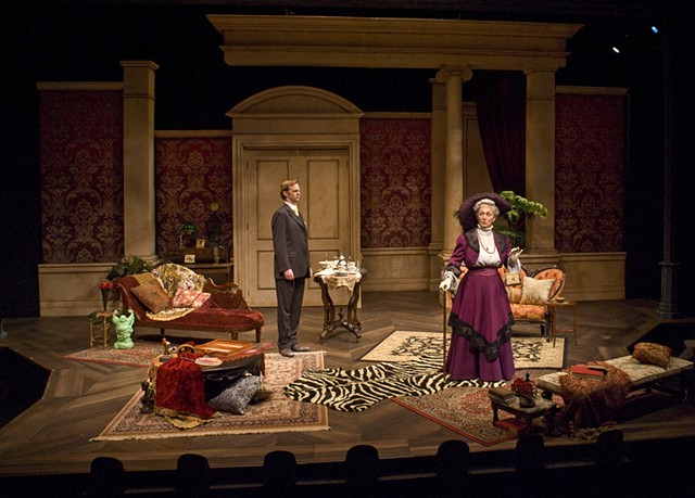 Sean Fanning Scenic Design, Cygnet Theatre, The Importance of Being Earnest, Directed by Sean Murray, Set Design by Sean Fanning, with Brian Mackey and Linda Libby