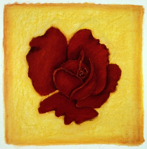 Teraccotta Rose on Yellow